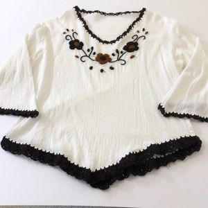 Gorgeous hand embroidered Mexican blouse bell